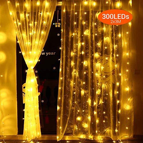 300 LEDs Lichterkettenvorhang 2x3 Meter Elegear Warmweiß Lichtervorhang 8 Modi LED Weihnachtsbeleuchtung strombetrieb erweiterbar Lichterketten für Innen Außen Neujahr Weihnachten Geburtstag Feiertag