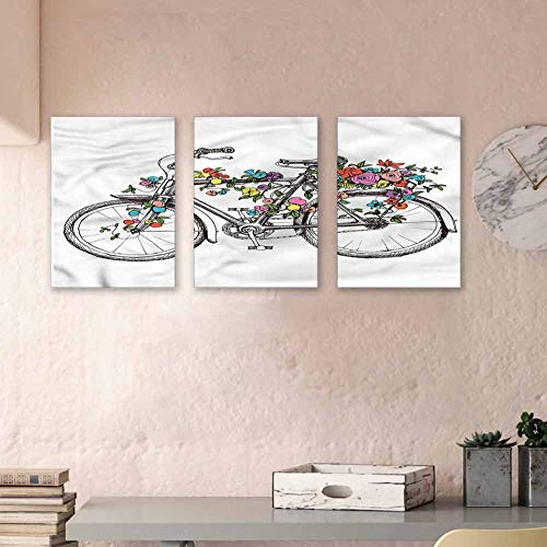 MartinDecor Flower Artwork Paintings Colorful Blossoms on a Bike Canvas Prints Wall Art Modern Minimalist Atmosphere 16'x31'x3 Panels