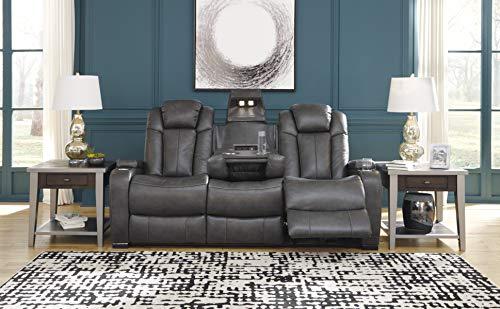 Signature Design by Ashley Turbulance Power Reclining Sofa with Adjustable Headrest Quarry