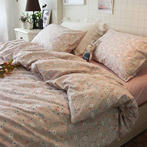 IKITOBI Sábanas bajeras dobles lisas teñidas y de fácil cuidado, juego de cama de lujo de 1,8 m con funda de edredón de 2,0 x 2,3