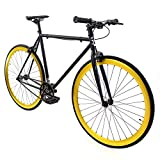 Golden Cycles Fixed Gear Bike Steel Frame Fixie with Deep V Rims-Collection (Saint, 48)