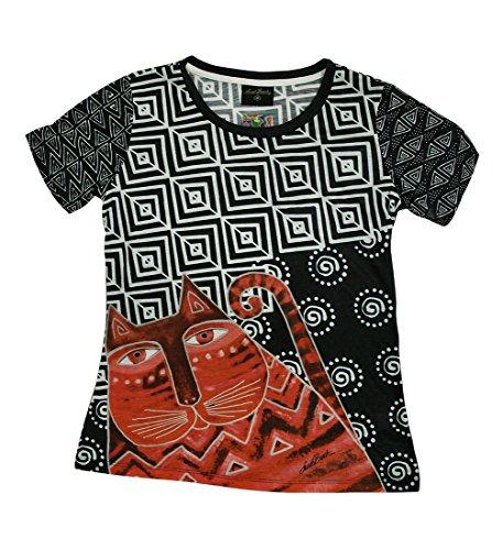 Laurel Burch Red Feline Black and White Short Sleeve Ladies T-Shirt
