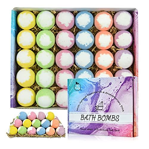 30 Pcs Bath Bombs for Women, Men & Kids, Natural Organic Bath Bombs, Handmade Bath Bombs Gift Set,...