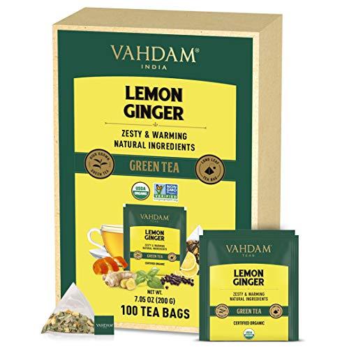 VAHDAM, Bio Zitrone Ingwer Grüner Tee Beutel (100 Teebeutel) | Zitrone + Ingwer + Heiliges Basilikum + Schwarzpfeffer | 100% natürliche Zutaten | Gut für Verdauung | Zitrone Ingwer Tee