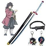 Demon Slayer Blade Tomioka Giyuu COS Wooden Sword Anime Lovers Cosplay Katanas Weapon Decorative Props Rengoku Swords Toys for Kids - with Sword Belt & key charm (80 cm)