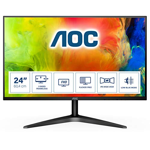 AOC 24B1XHS 23.8' LCD Monitor withHDMI/VGA Port, Full HD, Wall Mountable, 3 Side Borderless