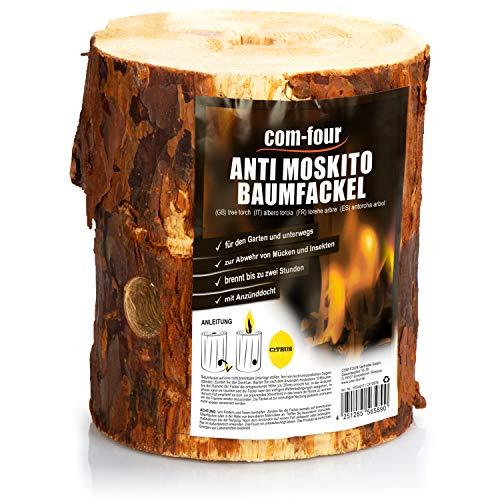 com-four® Schwedenfeuer zur Abwehr von Mücken und Insekten, Anti Moskito Baumfackel mit Anzünddocht