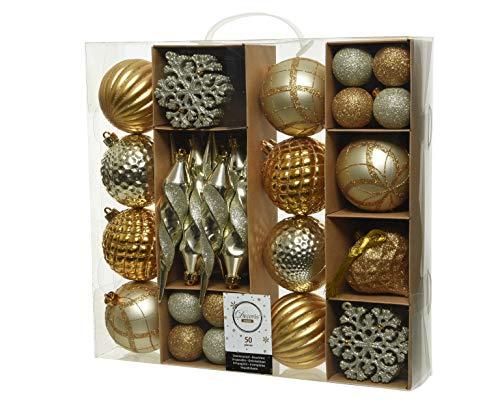 Decoris 50er Set bruchfeste Weihnachtskugeln in Gold/Champagner/Silber aus Kunststoff für innen und außen
