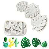 LEBERY Tropical Palm Leaves Silicone Mold Cactus Fondant Mold for Hawaii Aloha Theme Party Birthday Baby Shower Cake Border Decoration, Cupcake Topper, Sugarcraft, Polymer Clay, Epoxy Resin, Gum Paste