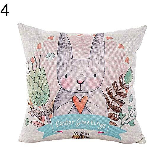 WEURIGEF Funda de Almohada de Lino con patrón de Conejo Encantador Funda de cojín de sofá de Dormitorio Decoración para el hogar de Pascua 4