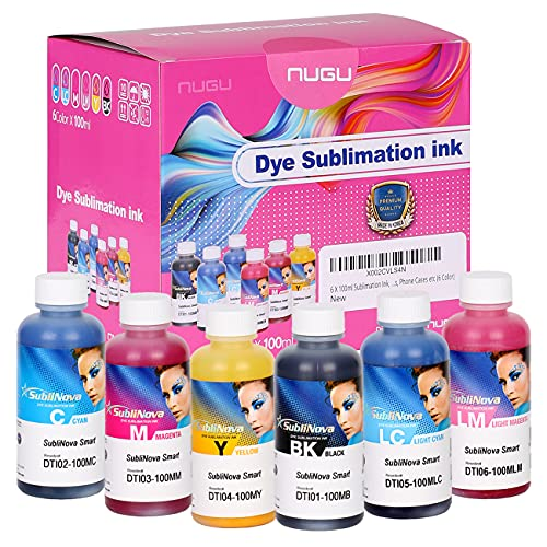 6 X 100ml Sublimation Ink, High Density Professional Dye Sublimation Refill Inks Made by in Korea,(for CISS). for Inkjet Printers, Heat Transfer on Mugs, t-Shirts, Phone Case etc. (6 Color)