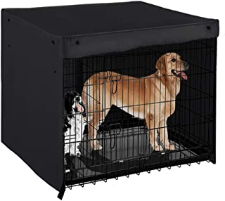 PONY DANCE Dog Crate Cover - Pet Kennel Covers Universal Fit for 36 42 48 Inches Wire Dog Crate, Lightweight 100% Polyester Fabric, Breathable Double Door Dog Cage Cover