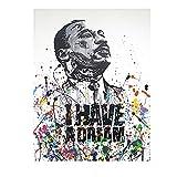 Martin Luther King Tengo Un SueñO Graffiti Art Canvas Print Pinturas Inspirational Wall Art Poster Modern Home Decor Cuadros 60x80cm Sin Marco