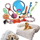 YZBBSH Cama para Perros Medianos,Pequeños,Grandes con Juguete para Perros 10 Piezas Cama de Perro de Gato Mullido Felpa Desenfundable y Lavable Cama para Perros Antiestres,Marrón,90cm