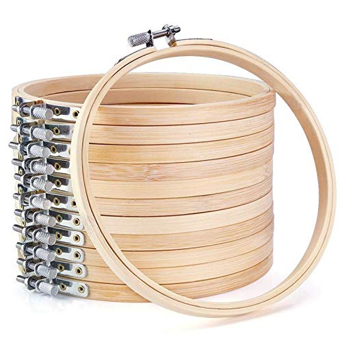 JAP768 12 Piezas de 6 Pulgadas de Bordado de Madera aroderos al por Mayor de bambú círculo de bambú de Punto de Cruz Anillo Redondo para artesanía artesanía de Costura a Mano (Color : Wood Color)