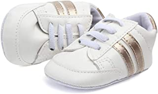 Nagodu Zapato Tenis Deportivo para Bebe Unisex, Blanco con lineas Doradas o Plateadas 2 Tipos, excelente Calidad, Varias Medidas