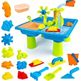 UNIH Beach Toys for 1-3 Year Old Boy Girls, Water Sand Table Sand Molds Beach Tool Kit, Durable Outdoor Kids Activity Game Sandbox Toys, Toddler Toys Sand Playset Sensory Table, Sand Shovel Tool Kits