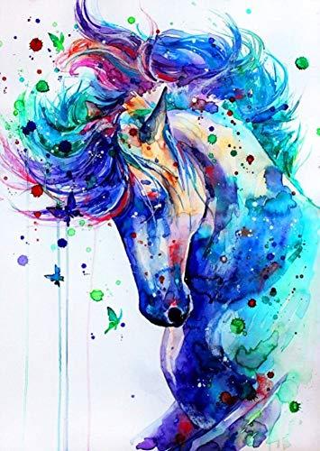 YEESAM ART Neuheiten Malen nach Zahlen Erwachsene Kinder, bunt Pferd und Schmetterling 40x50 cm Leinen Segeltuch, DIY ölgemälde Weihnachten Geschenke (Pferde, Mit Rahmen)