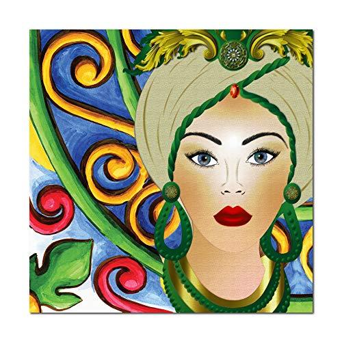G-factory design Quadro su Tela, Testa di Moro Donna. Fine Art Made in Sicily. Misure Personalizzabili su Richiesta. (Inserti Verdi, 70 x 70 cm.)