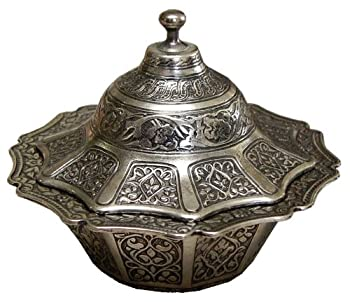 Ottoman Style Engraved Copper Sugar Turkish Delight Candy Bowl  Antique Silver