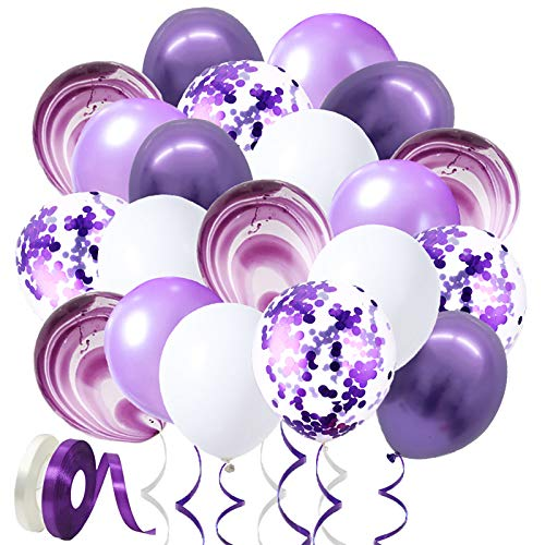12 inch Confetti Balloons Purple, White and Purple Latex Balloons with Purple Confetti Dots, 1 White Rolls Ribbons & 1 Purple Rolls Ribbons (100pcs)