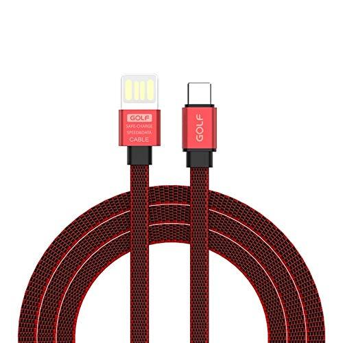 SHW GC-73t wijnglas stijl USB-C/Type-C naar USB 3A aluminium legering tweekleurige platte draad snel opladen USB-datakabel (grijs) kabels, Rood