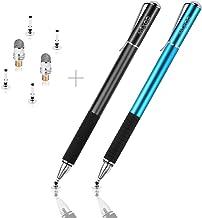 Mixoo Precisión Lápiz de Punta Disco Stylus 2 in 1 Lapiz Táctil Capacitivo Universal con puntas de repuesto Discos 2, y 1 Puntas de Fibra para Pantallas Táctiles (Negro+Azul)