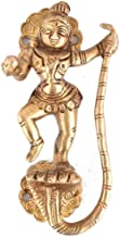 Indian-Shelf Handmade 6 Inch Brass Krishna Snake Door Pulls Cupboard Handles (Golden, 1-Piece)