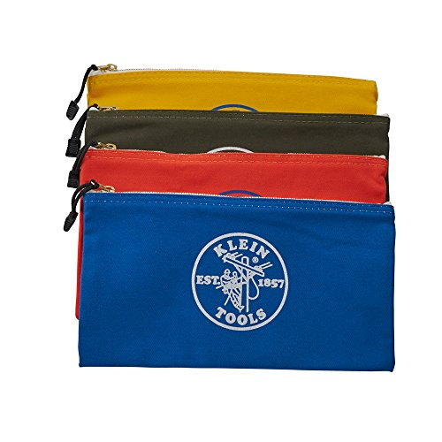 Klein Tools 5140 Zipper Bag, Utility Bag Use as Bank Deposit Bag, Tool Bag or Pouch, More in Olive, Orange, Blue, Yellow Canvas, 4pc Set