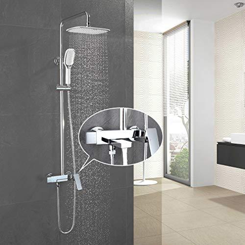 Faulkatze Messing Duscharmatur Regendusche Duschsystem Duschsäule Duschgarnitur Duschset mit Einhebelmischer Mischbaterie, Duschsäule Edelstahl, Überkopfbrause, 2 Strahlen Handbrause