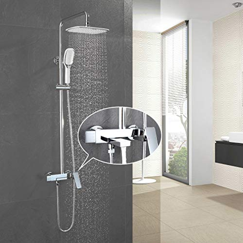 Faulkatze - Conjunto de ducha con grifo monomando (latón, ducha de acero inoxidable, 2 chorros de chorro)
