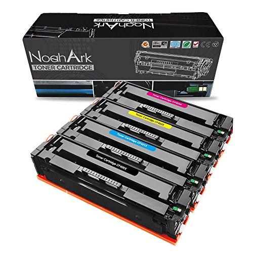 NoahArk compatibele HP 201X CF400X CF401X CF402X CF403X tonercartridge vervanging werk voor HP Color LaserJet Pro MFP M277dw M252dw MFP M277n M252n 4 Pack(BKCMY) Zwart