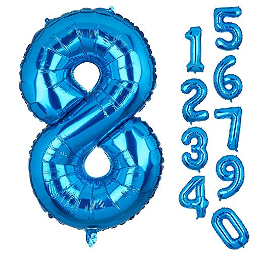 Big Number 8 Balloons Blue Mylar Foil Helium Balloons Birthday Party Decorations for Anniversary 8th Birthday Party