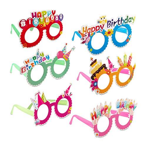 Relaxdays Gafas de Fiesta para Cumpleaños, Accesorio Divertido, Decoración Happy Birthday, Plástico-Papel, Multicolor, (10024250) , color/modelo surtido 🔥