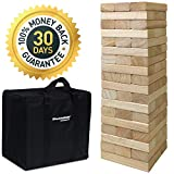 EasyGoProducts 54Piece Giant Wood Block Stack & Tumble Tower Toppling Blocks Game– Great for Game Nights for Kids, Adults & Family–Storage Bag