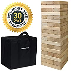"""Fun size – Please read carefully the block size is 6"""" Long x 2"""" Wide x 1. 33"""" 54 blocks total. This is not the largest jenga style Wood stacking game on but it is the most bang for your dollar. The game starts at 21"""" tall and when playing can stack u..."""