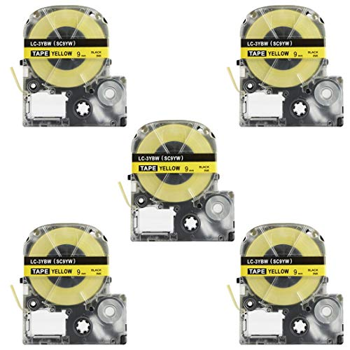 Replace Label Tape for Epson LK3WBN LC3WBN9, Label Tape Cartridge Compatible for Epson LabelWorks LW300 LW400 LW500 LW600P LW700,3/8 Inch X 26.2 Feet(9mm x 8M) (12mm Black on Yellow, 5 Pack)