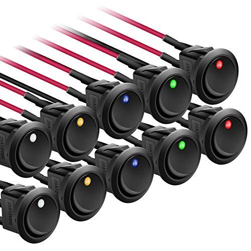 APIELE Interruptor basculante de 20 cm, precableado, CC 12 V, 20 A, encendido y apagado, con fuente de luz de punto SPST de 3 pines, 2 posiciones, 10 unidades, KCD2-102N cableados (multicolor)