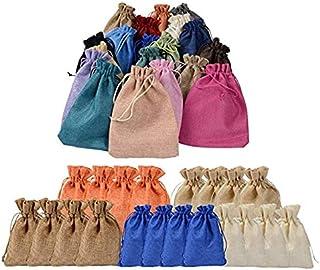 20 PCS Linen Bags, Drawstring Bags, Jewelry Favors Bags, Candy Bag, Burlap Lavender Sachet Drawstring Pouch Flax Cotton Je...