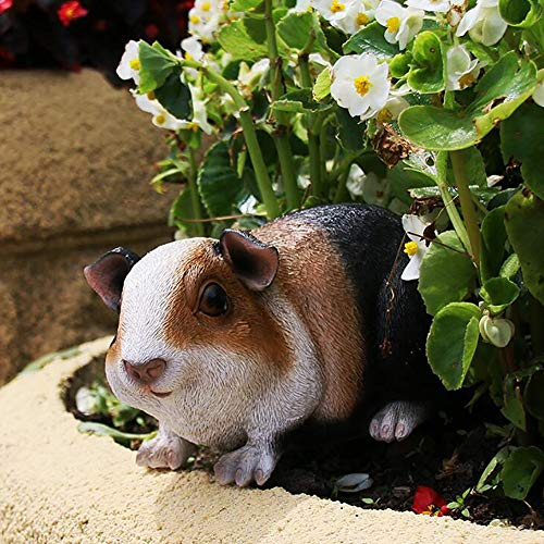 zenggp Smooth Haired Tri Coloured Gary Guinea Pig Garden Gift Ornament Animal Statue Decorative Figure