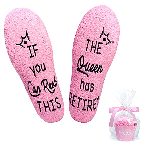 Valporia Retirement Gifts for Women 2021 If You Can Read This Socks Fuzzy Fluffy Funny Gifts for Teacher Nurse Doctor