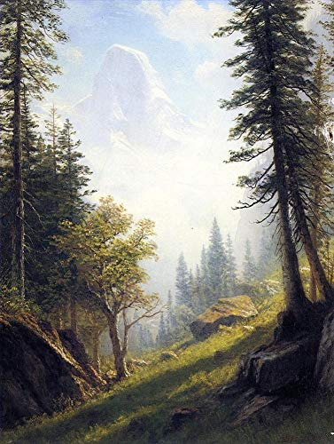 Desconocido 8 Pinturas Famosas - €40-€1000 Pintura al óleo a Mano de Pintores universitarios - Among The Bernese Alps Albert Bierstadt Paisaje - Pintado de Lienzo -02