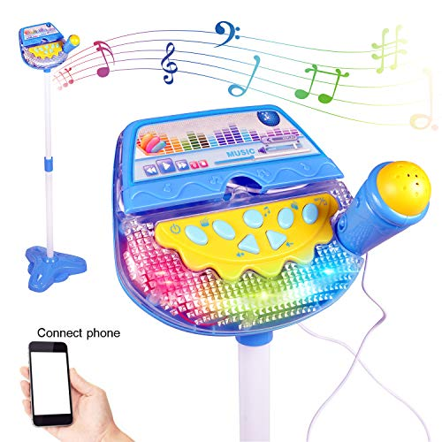 Liberty Imports Rock Star Kids Karaoke Machine Sing Along Multifunctional Stand Up Microphone Toy Play Set with Built in MP3, Speaker, Adjustable Height