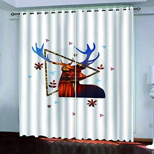 DRFQSK Cortinas Infantiles Impresión Digital Alce Geométrico Dorado 3D Cortinas Opacas Termicas Aislantes Cortinas Dormitorio Moderno con Ollaos, 2 Paneles 300 X 270 Cm(An X Al)