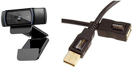 Logitech C920 HD Pro Webcam, Videochiamate e Registrazione Full HD 1080p, Due Microfoni Audio Stereo, Nero & AmazonBasics Cavo prolunga USB 2.0 A maschio/A femmina (3 m) - Trova i prezzi più bassi