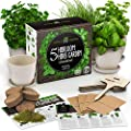 Indoor Herb Garden Starter Kit - Herb Seeds Gardening Kit Planting Pots & Potting Soil - Heirloom & Non GMO - DIY Home Seed Starter Grow Plant Kit (Bamboo Pots)
