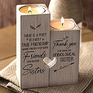 VELIHOME Heart-Shaped Wooden Candle Holder,to My Bestie - Thank You for Being My Unbiological Sister Forever -Gift for Bir...