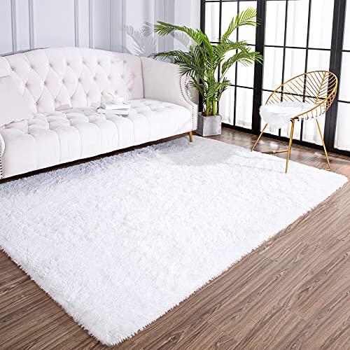 AROGAN Large Fluffy Area Rug for Living Room 5x8 Feet, Super Soft Shaggy Comfy Rugs, Modern Plush Indoor Carpet Durable for Bedroom Nursery Kids Girls, White