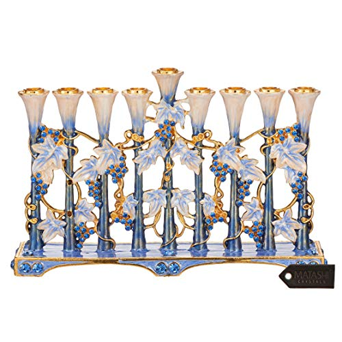 Matashi Hand Painted Blue and Ivory Tulip Menorah Candelabra, Embellished with Gold Accents and Crystals Jewish Candle Holder Hanukkah Gift for Housewarming Showpiece for Living Room