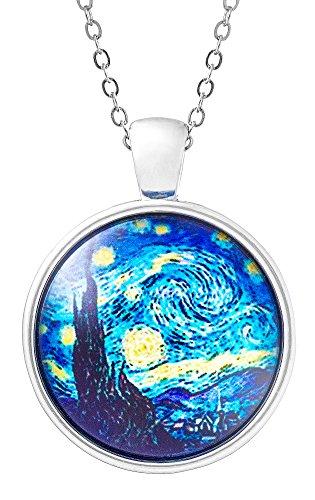 Klimisy - Sternennacht nach Vincent Van Gogh Kette mit Anhänger aus Glas - Buy one & Plant one Tree - Hochwertige Halskette mit elegantem Medaillon - Eco & Fair